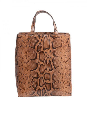 abro Handbags 1 Abro Tan Leather Python Tote Bag 028902-04 izzi-of-baslow