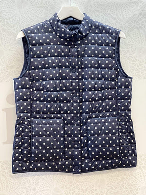 Basler Coats and Jackets Basler Navy And White Spotty Quilted Gilet 2208110301 izzi-of-baslow