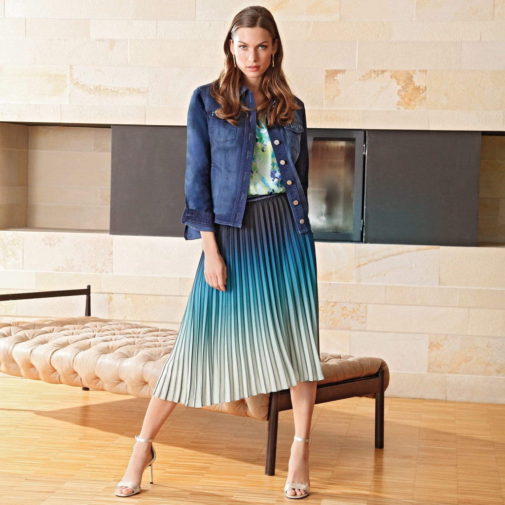 Basler Skirts Basler Navy and Green Multi Printed Pleated Skirt 2201100201 izzi-of-baslow