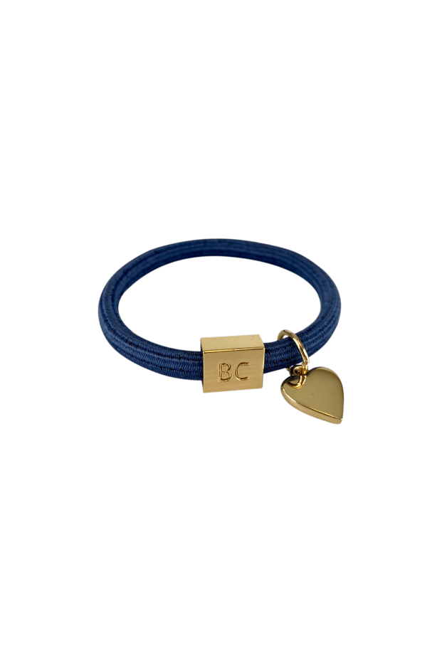 Black-Colour-Accessories-One-Size-Black-Colour-Elastic-Hair-Tie-Bracelet-Jean- Blue-hear- Charm-izzi-of-baslow