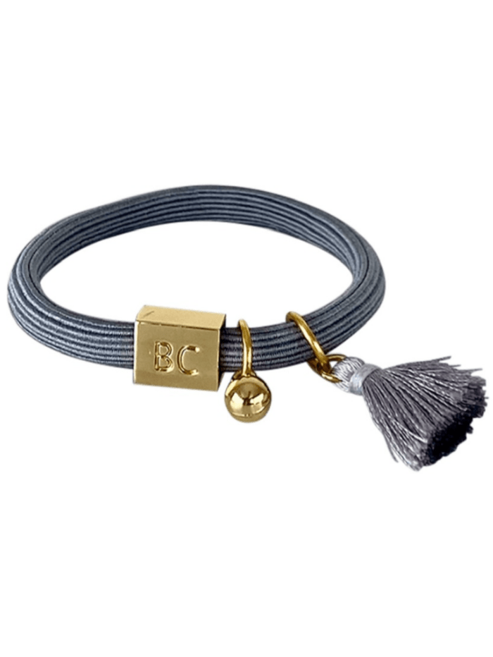 Black Colour Accessories One Size Black Colour Elastic Hair Tie Bracelet Poppy Grey With Tassel and Gold Ball Charm 6740 GR izzi-of-baslow