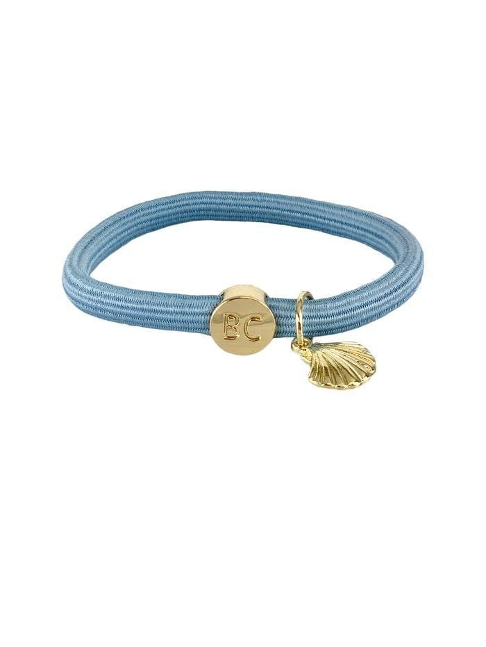 Black Colour Accessories One Size Black Colour Elastic Hair Tie Bracelet Sky Blue Gold Shell 6719JB izzi-of-baslow