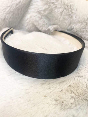 Black Colour Accessories One Size Black Colour Hair Band Amira Satin Black 2037 izzi-of-baslow
