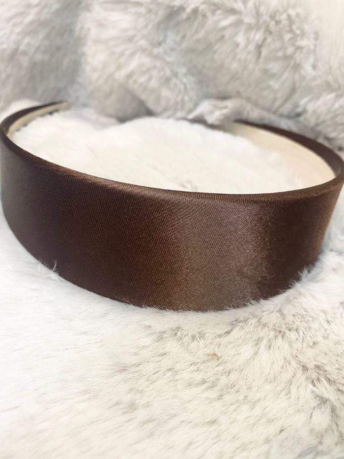 Black Colour Accessories One Size Black Colour Hair Band Amira Satin Brown 2037 izzi-of-baslow
