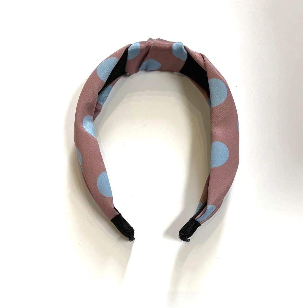 Black Colour Accessories One Size Black Colour Hair Band Dusky Pink With Pale Blue Spot izzi-of-baslow