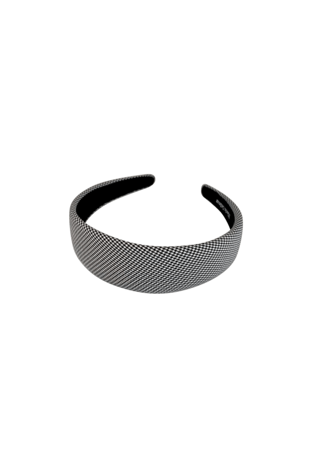Black Colour Accessories One Size Black Colour Hair Band Hannah Check Black 2044 izzi-of-baslow