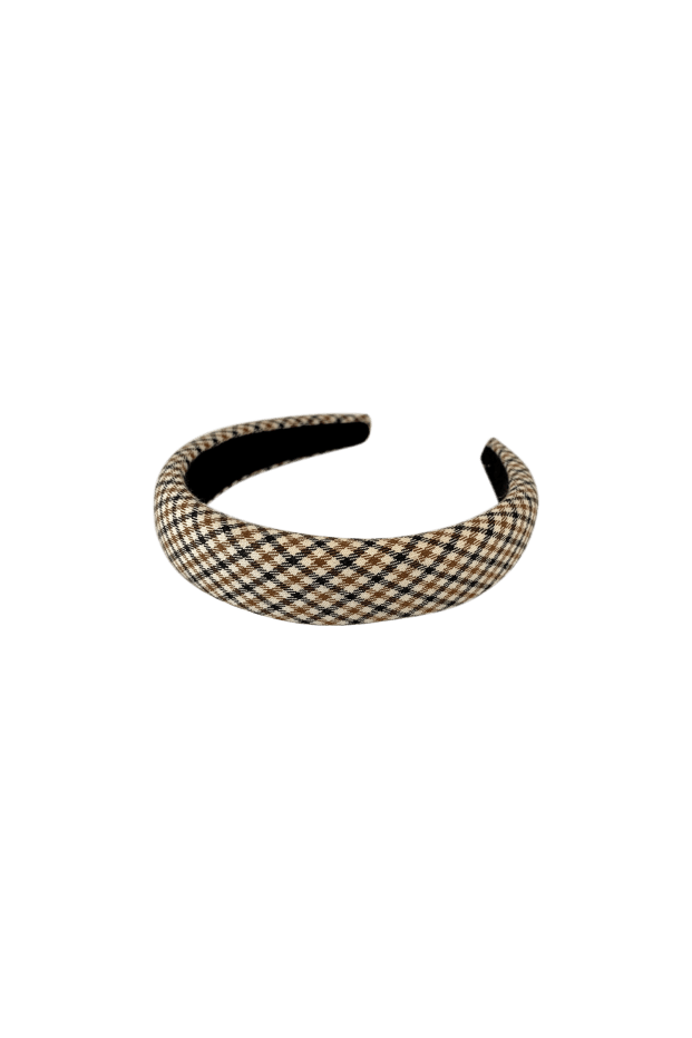Black Colour Accessories One Size Black Colour Hair Band Hannah Check Brown 2044 izzi-of-baslow