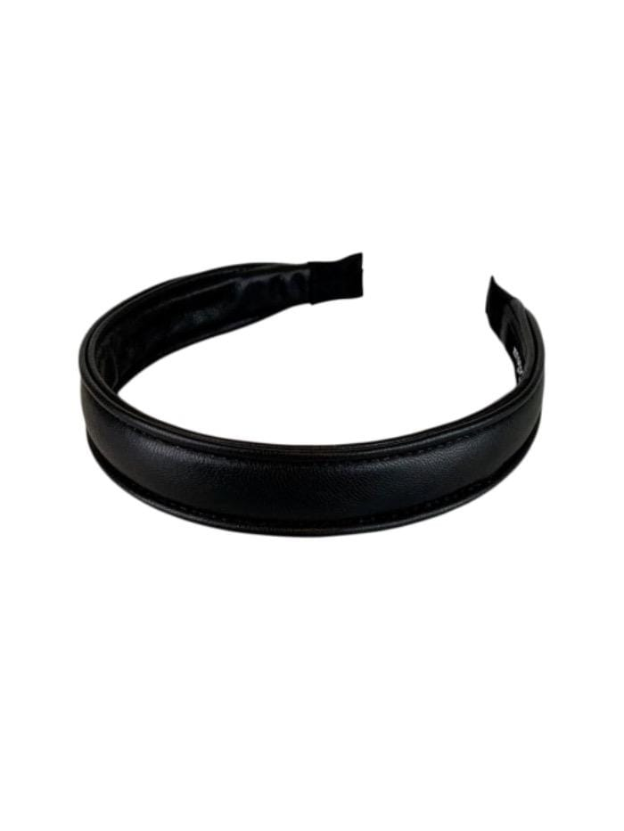 Black Colour Accessories One Size Black Colour Hair Band Pelle Vegan Leather Black 2054 izzi-of-baslow