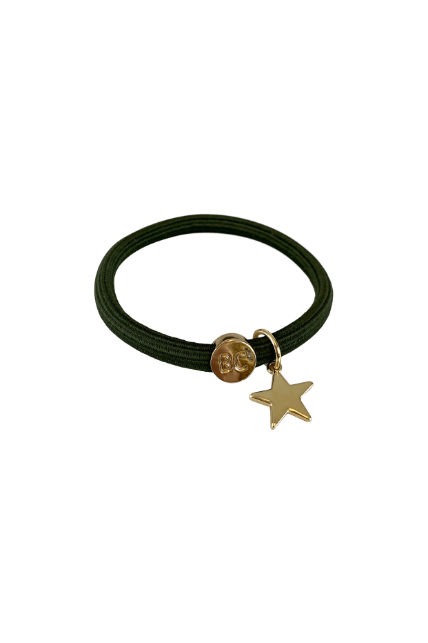 Black Colour Accessories One Size Black Colour Poppy Army Hair Elastic/Bracelet With Gold Star Charm 6740 izzi-of-baslow