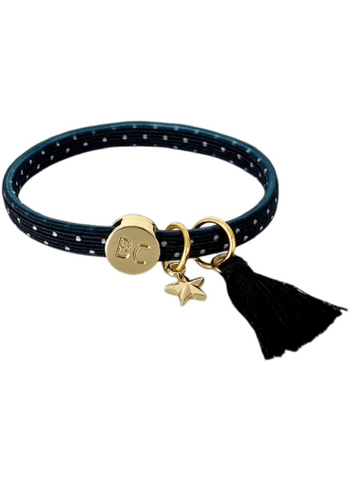 Black Colour Accessories One Size Black Colour Poppy Black Dot Tassel Hair Elastic/Bracelet With Gold Star Charm 6740 BD izzi-of-baslow