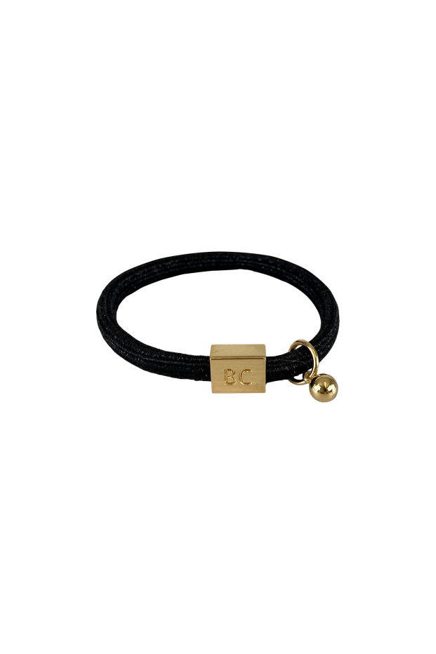 Black Colour Accessories One Size Black Colour Poppy Black Hair Elastic/Bracelet With Gold Ball Charm 6740 izzi-of-baslow
