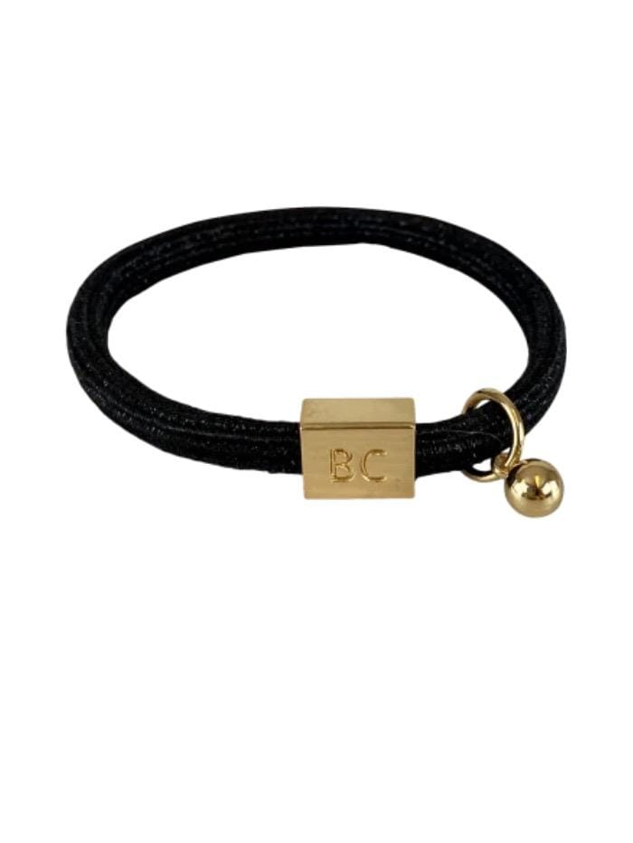 Black Colour Accessories One Size Black Colour Poppy Black Sparkly Hair Elastic/Bracelet With Gold Ball Charm 6740 BL izzi-of-baslow