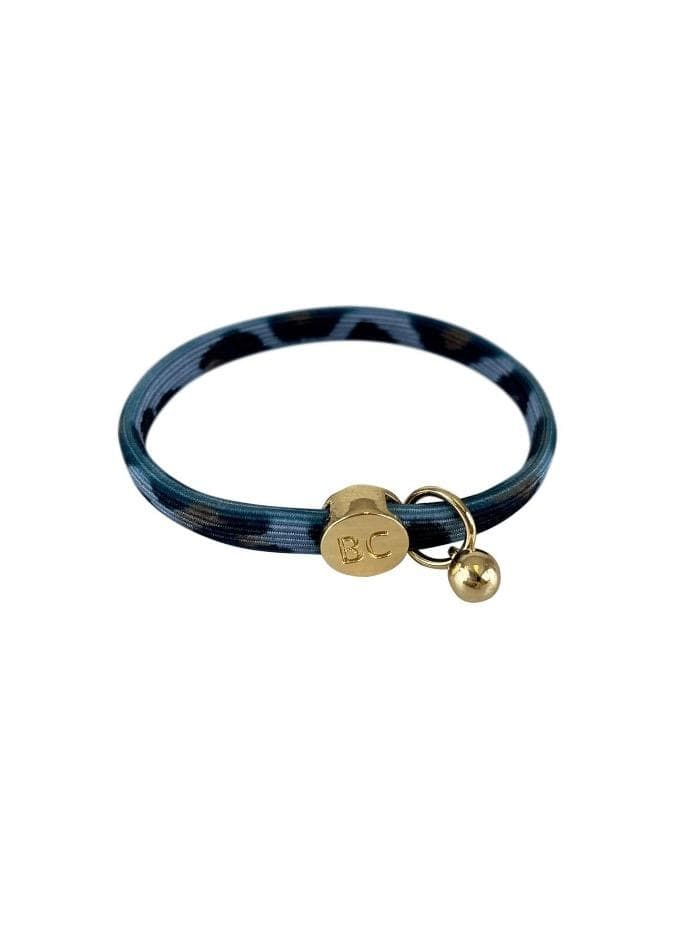 Black Colour Accessories One Size Black Colour Poppy Blue Leo Hair Elastic/Bracelet With Gold Ball Charm 6740 LB izzi-of-baslow