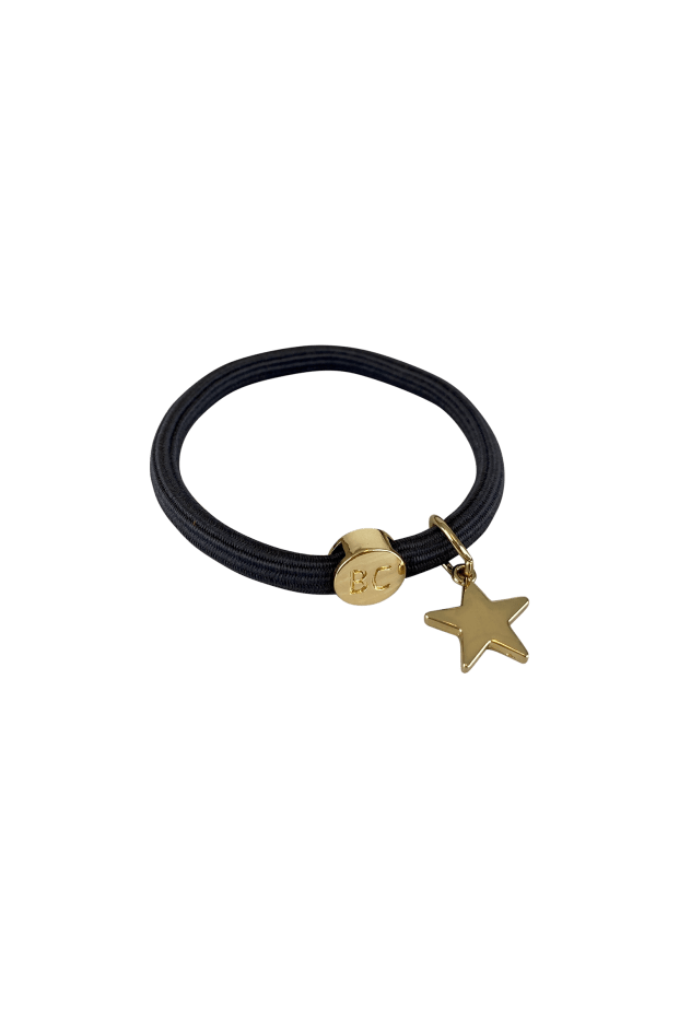 Black Colour Accessories One Size Black Colour Poppy Dark Grey Hair Elastic/Bracelet With Gold Heart Charm 6740 izzi-of-baslow