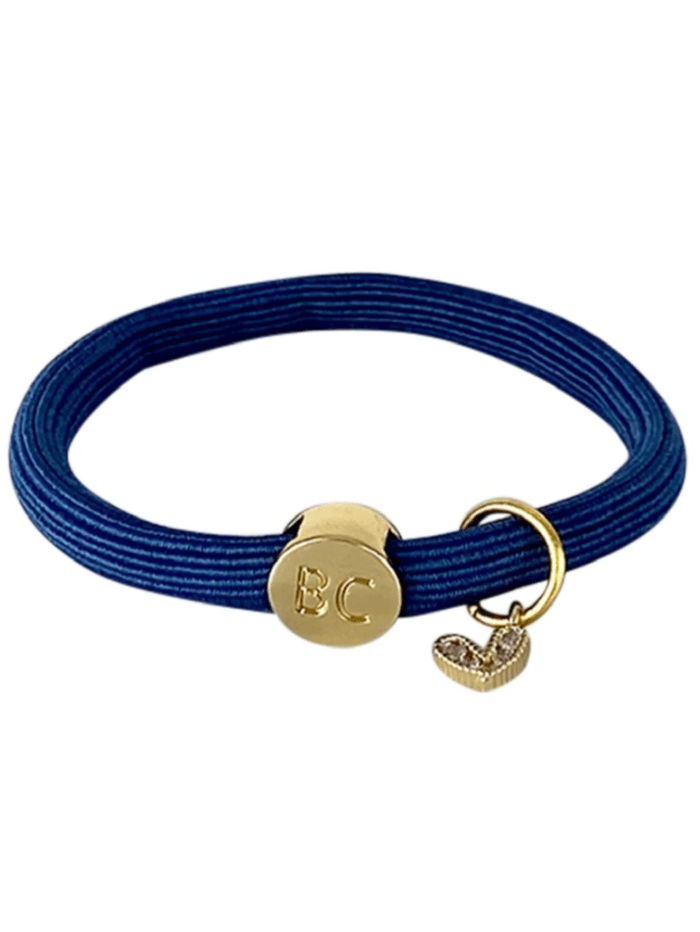 Black Colour Accessories One Size Black Colour Poppy Navy Hair Elastic/Bracelet With Gold Heart Charm 6740 NA izzi-of-baslow