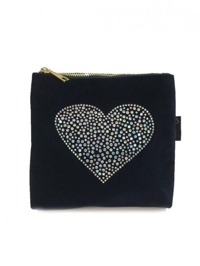 Black Colour Accessories One Size Blue Rhinestone Heart Velvet Zip Bag izzi-of-baslow