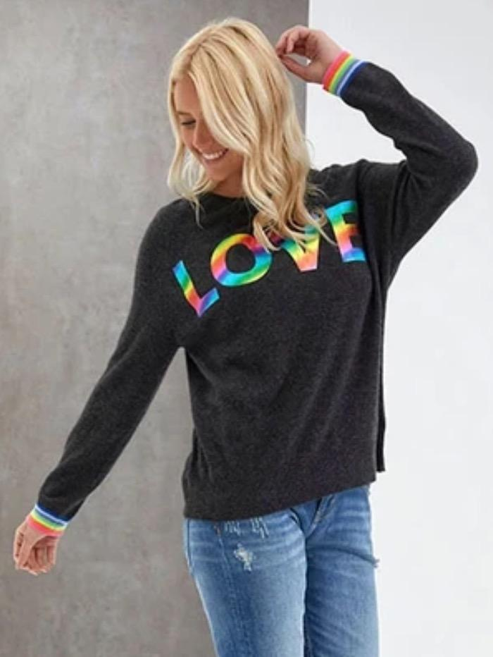 Brodie Cashmere Knitwear Brodie Cashmere Charcoal Sweater Love Rainbow Foil izzi-of-baslow