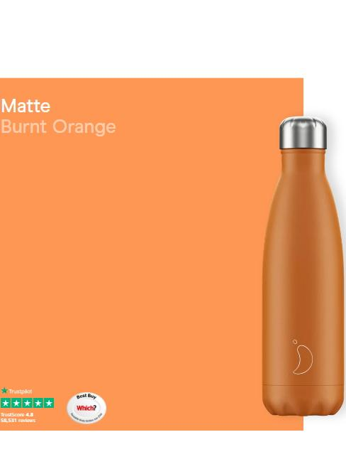 Chilly's Water Bottles Accessories One Size Chilly's Water Bottle Matt Burnt Orange 500ml B500MABOR izzi-of-baslow