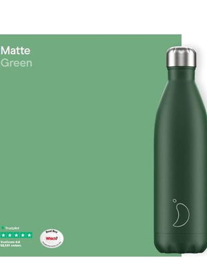 Chilly's Water Bottles Accessories One Size Chilly's Water Bottle Matt Green 750ml B750MAGRN izzi-of-baslow
