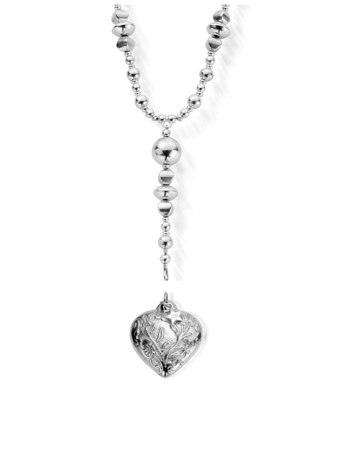ChloBo Jewellery One Size Chlobo 63 Silver The Moss Necklace With Embossed Heart Pendant SNMOS and SP055 izzi-of-baslow