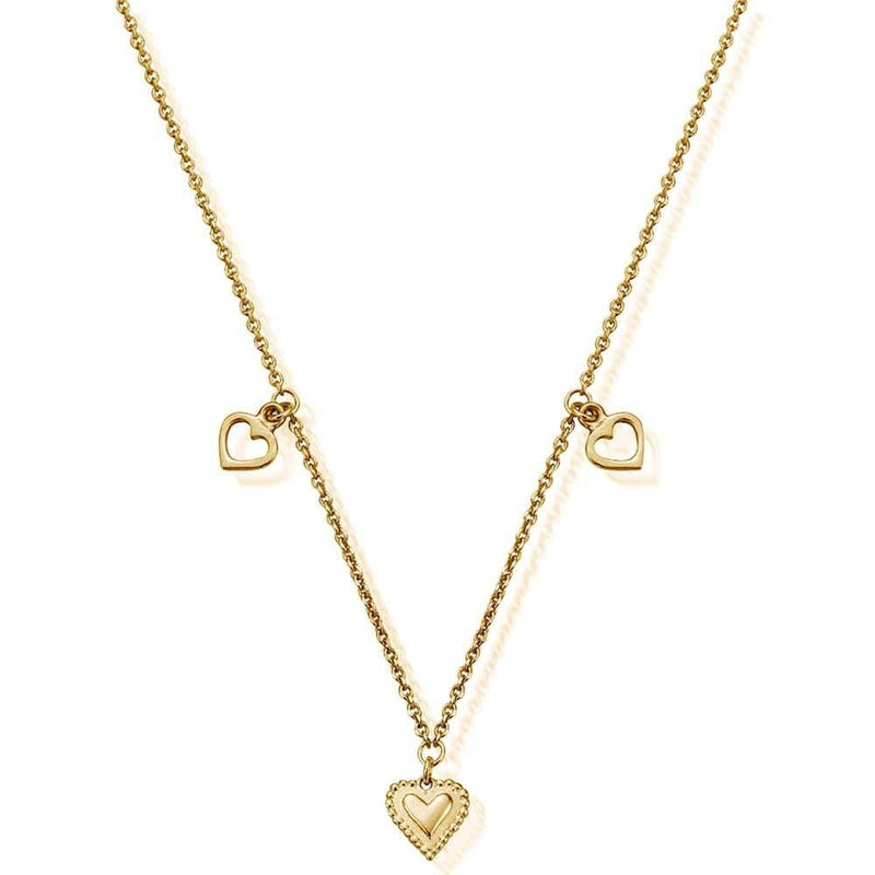ChloBo Jewellery One Size ChloBo Cherabella Triple Heart Necklace Gold Plated GNTH847 izzi-of-baslow