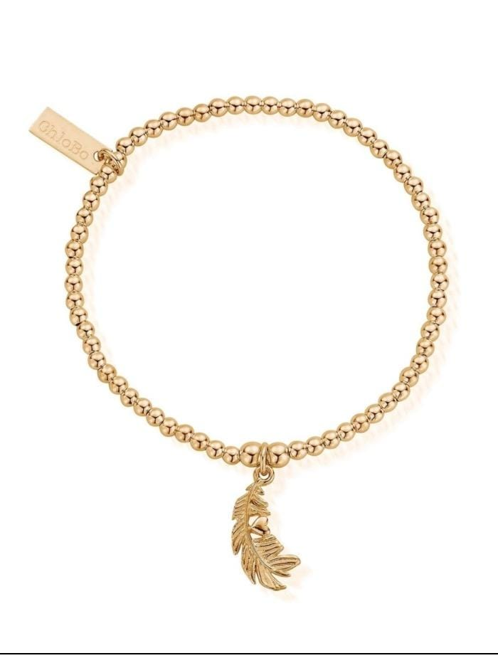 ChloBo Jewellery One Size ChloBo Gold Cute Charm Heart In Feather Bracelet GBCC1078 izzi-of-baslow