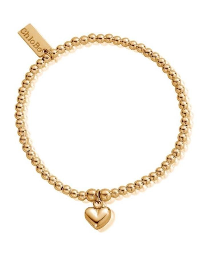 ChloBo Jewellery One Size ChloBo Gold Cute Charm Puffed Heart Bracelet GBCC067 izzi-of-baslow