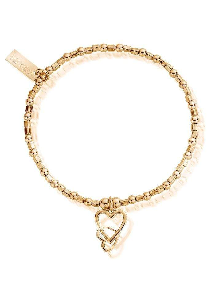 ChloBo Jewellery One Size ChloBo Gold Mini Cube Interlocking Love Heart Bracelet GBCFB1069 izzi-of-baslow