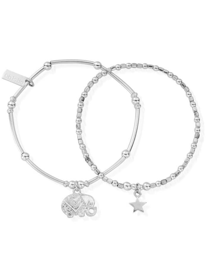 ChloBo Jewellery One Size ChloBo Silver Lucky Set Of Two Bracelets SBSET534806 izzi-of-baslow