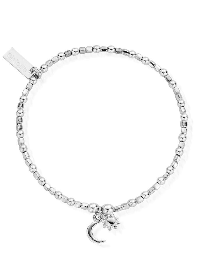 ChloBo Jewellery One Size ChloBo Silver Mini Cube Dainty Moon and Sun Bracelet SBCFB582 izzi-of-baslow