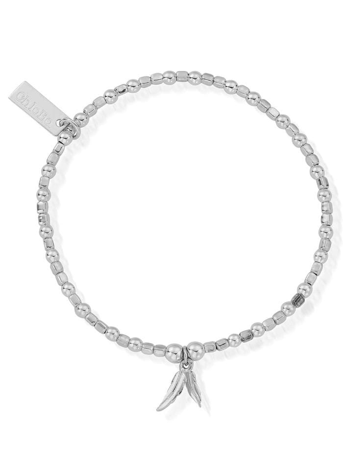 ChloBo Jewellery One Size ChloBo Silver Mini Cube Double Feather Bracelet SBCFB584 izzi-of-baslow