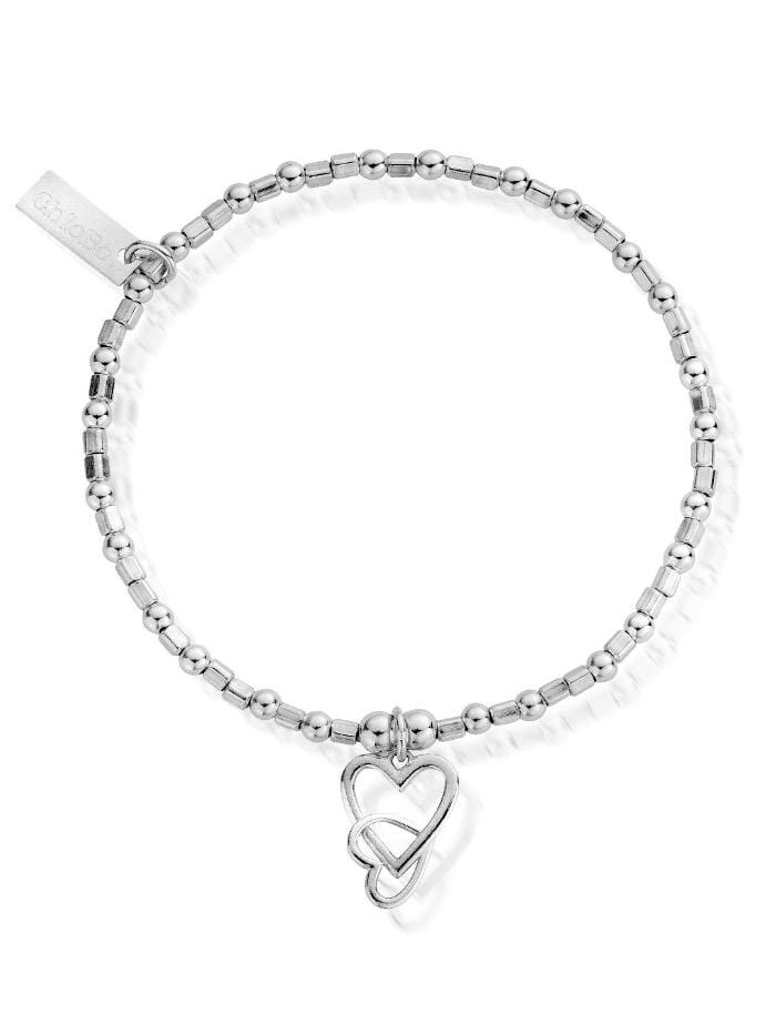 ChloBo Jewellery One Size ChloBo Silver Mini Cube Interlocking Love Heart Bracelet SBCFB572 izzi-of-baslow