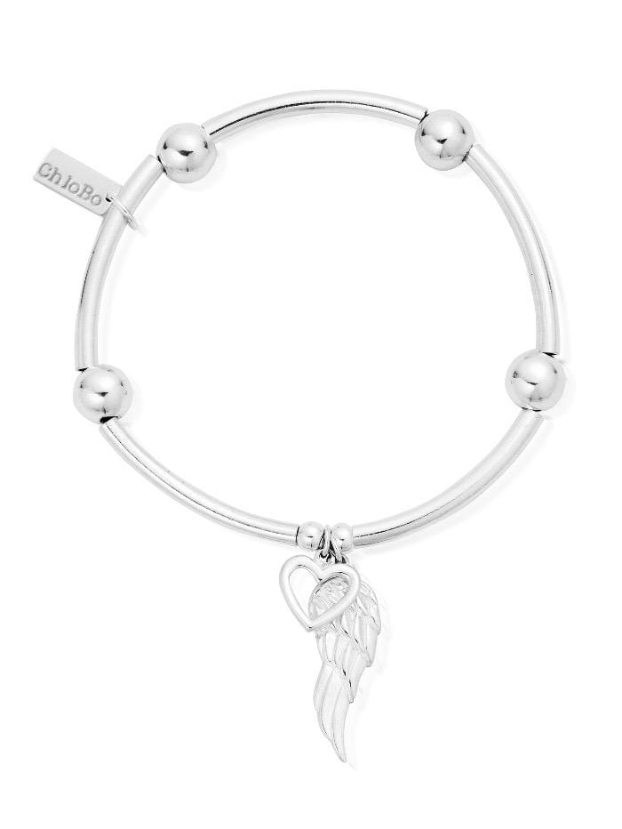 ChloBo Jewellery One Size ChloBo Silver Noodle Ball Open Heart and Angel Wing Bracelet SBNB00703 izzi-of-baslow