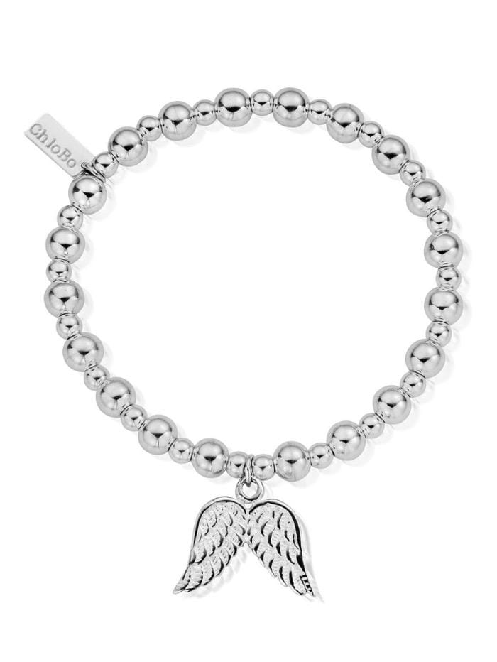 ChloBo Jewellery One Size ChloBo Silver Small Ball Double Angel Wing Bracelet SBMSB702 izzi-of-baslow