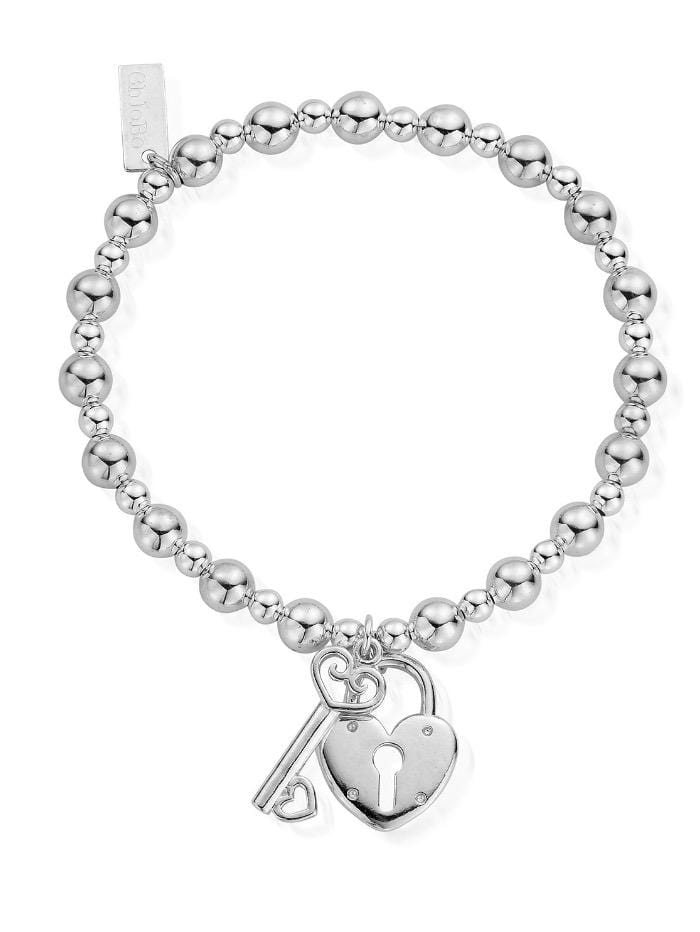 ChloBo Jewellery One Size ChloBo Silver Small Ball Lock and Key Bracelet SBMSB923 izzi-of-baslow
