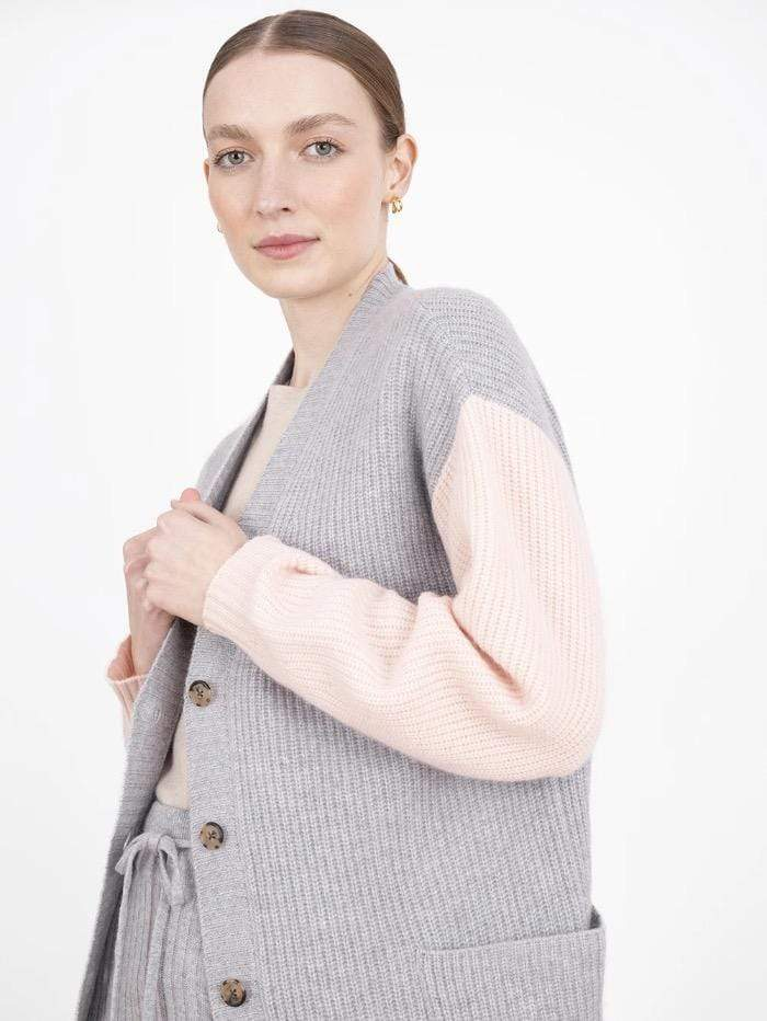 Cocoa Cashmere Knitwear Cocoa Cashmere Jasmine Cardigan Grey CC4036 izzi-of-baslow