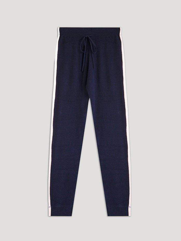 Cocoa Cashmere Knitwear Cocoa Cashmere Navy Blake Trackie Bottoms CC3209 izzi-of-baslow