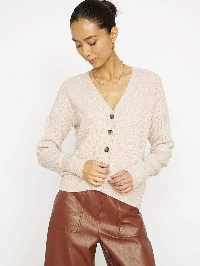 Cocoa Cashmere Knitwear Cocoa Cashmere Oatmeal Stevie Cardigan CC3289 izzi-of-baslow