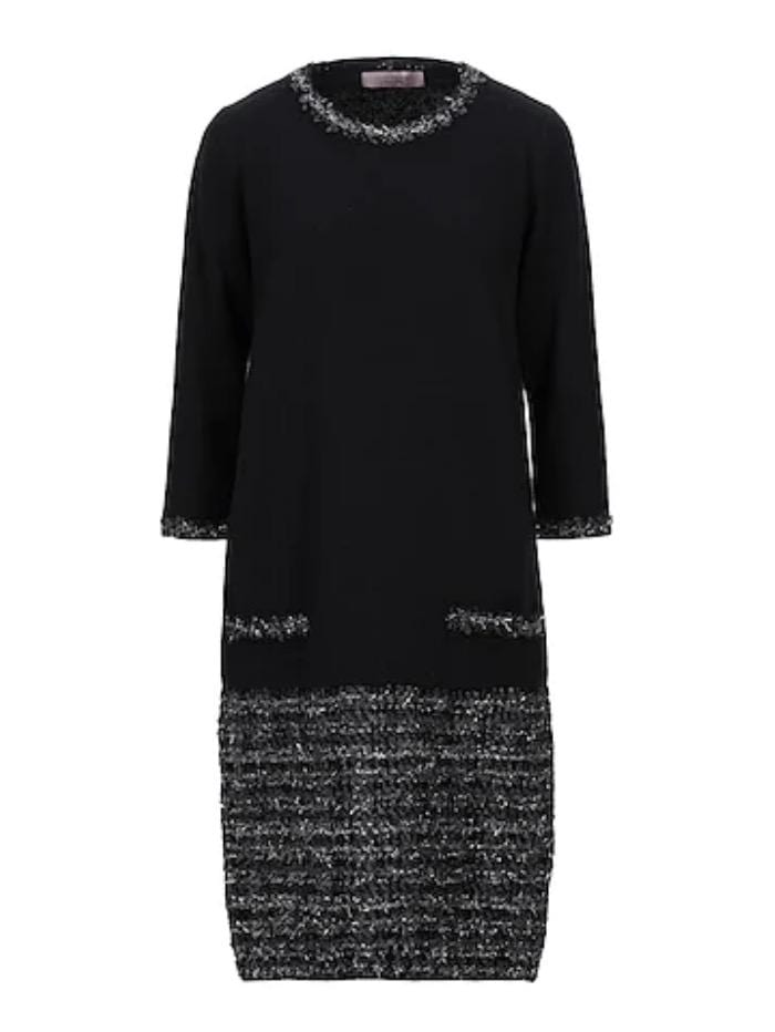 D.Exterior Coats and Jackets D.Exterior Knitted Dress With Lurex Thread Black 49594 NERO izzi-of-baslow