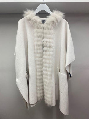 D.Exterior Coats & Jackets D.Exterior Winter White Knitted Cape 51121 izzi-of-baslow