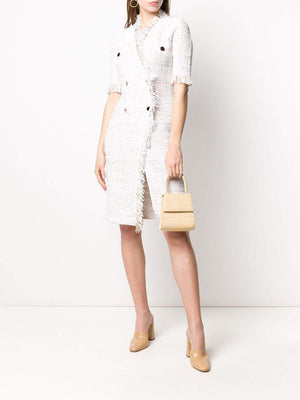 D.Exterior Dresses D.Exterior Knitted Fringe Dress Champagne and Cream 50545 izzi-of-baslow