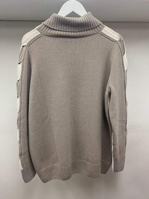 D.Exterior Jumper D.Exterior Winter White and Taupe Jumper 51201 izzi-of-baslow
