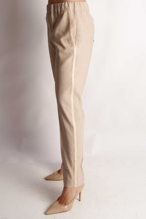 D.Exterior Trousers D.Exterior Stone Linen Trousers With Side Braid Detail 50613 izzi-of-baslow
