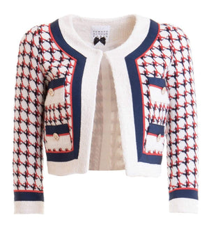 Edward Achour Paris Coats and Jackets Edward Achour Ivory White and Blue Jacket 421046 izzi-of-baslow