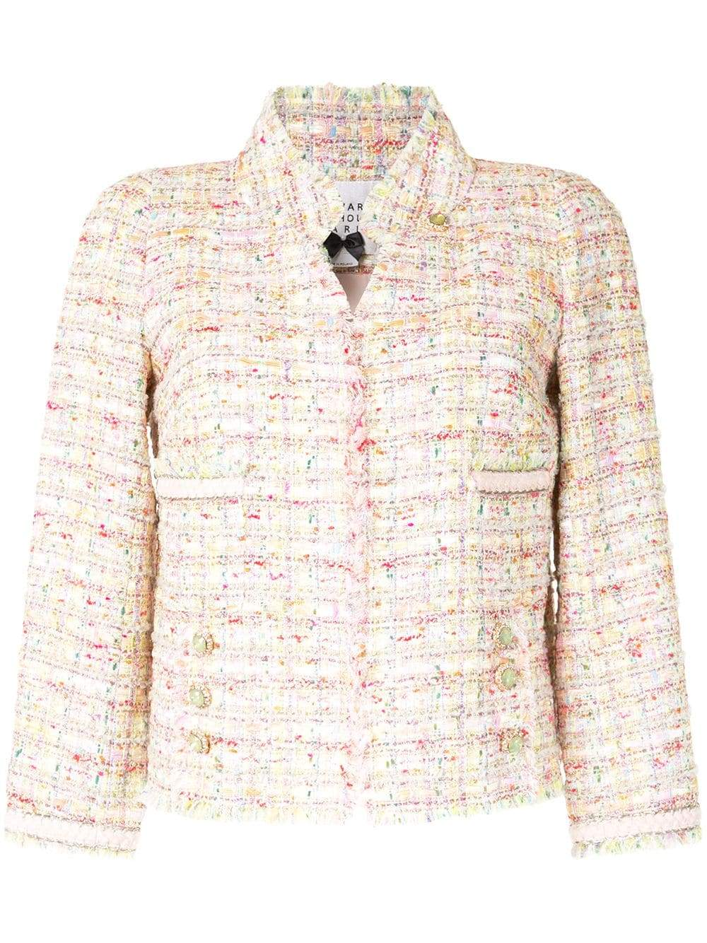Edward Achour Paris Coats and Jackets Edward Achour Multi Pink Jacket With Jewel Clasp 421004 izzi-of-baslow