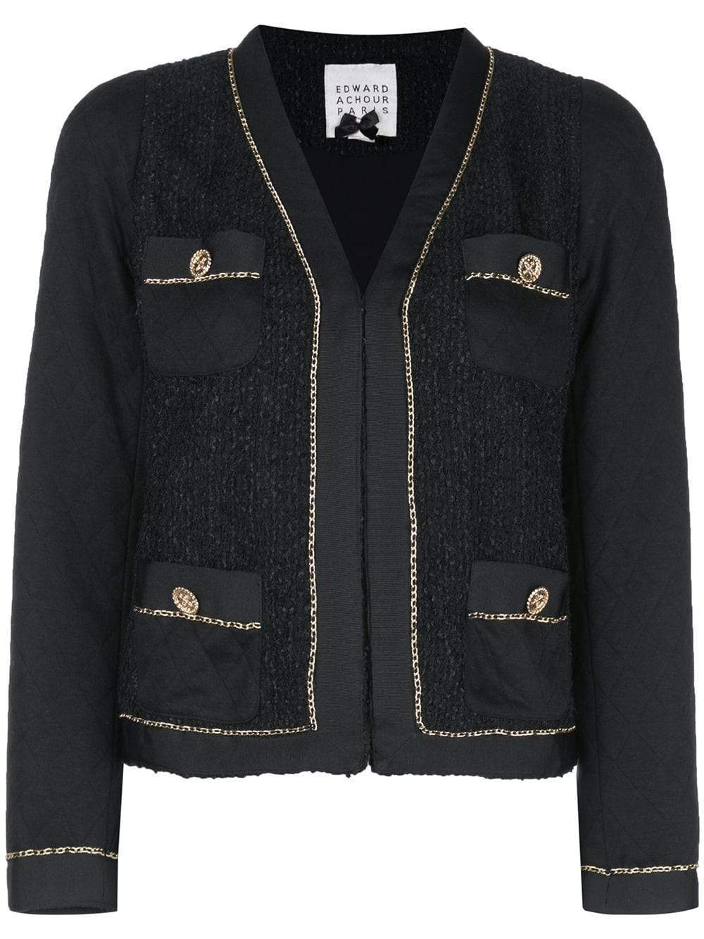 Edward Achour Paris Coats and Jackets Edward Achour Paris Black Jacket With Gold Chain 411029 izzi-of-baslow