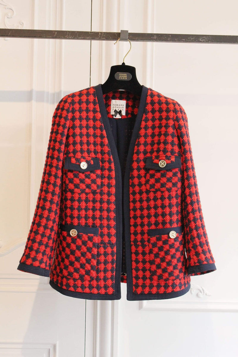 Edward Achour Paris Coats and Jackets Edward Achour Red and Navy Checked Tweed Jacket 431021/1611D izzi-of-baslow