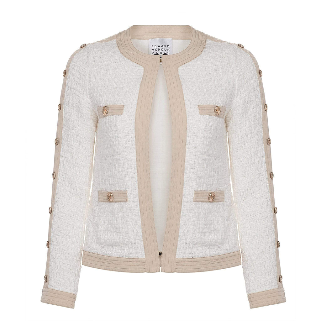 Edward Achour Paris Coats and Jackets Edward Achour White and Beige Jacket 421035 izzi-of-baslow