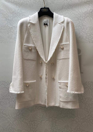 Edward Achour Paris Coats and Jackets Edward Achour White Tweed Jacket 421006 izzi-of-baslow