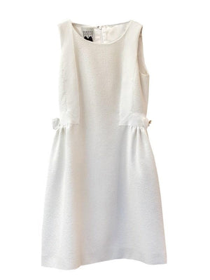 Edward Achour Paris Dresses Edward Achour White Tweed Embellished Dress with Bow 425027 izzi-of-baslow